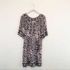 Calypso St. Barth | Pink Black Gold Foil Dress